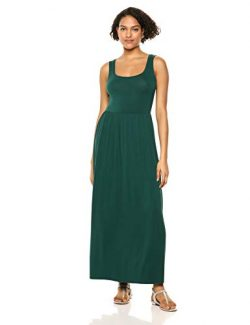 Amazon Essentials Women's Solid Tank Waisted Maxi Dress, Jade, XXL