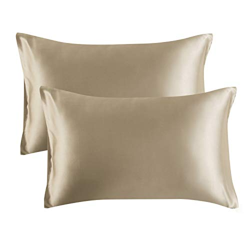 Bedsure Satin King Size Pillow Cases Set of 2, Taupe, 20×40 inches – Pillowcase for H ...