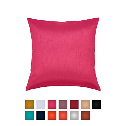 Essencea Faux Silk Throw Pillow Cover Solid Color Decorative European Shams Soft Shiny Square Pi ...