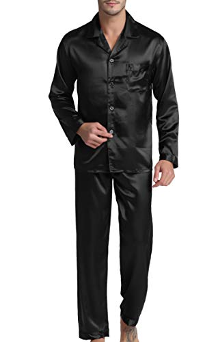 Men's Satin Pajamas Long Button-Down Pj Set Sleepwear Loungewear (Black, XL)