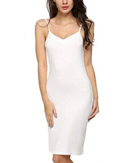 Avidlove Women Full Slips Basic Long Cami Dress with Strap(White,XL)