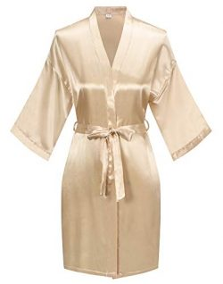 Women's Pure Color Satin Kimono Robe Short Bridesmaids Robe Dressing Gown, Champaign Gold, S/M