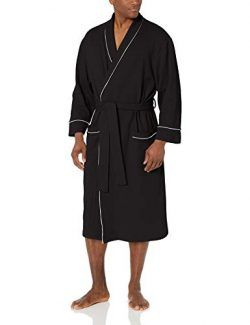 Amazon Essentials Men's Waffle Shawl Robe Sleepwear, -Black, XL/XXL
