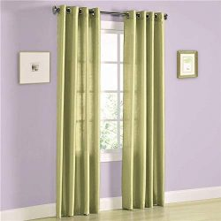 2 Panel Faux Silk Solid Curtain Drapes w/Bronze Grommet 84″ Length, Solid Color Curtain Pa ...