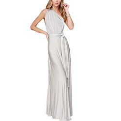 Women Transformer Convertible Multi Way Wrap Long Prom Maxi Dress V-Neck Hight Low Wedding Bride ...