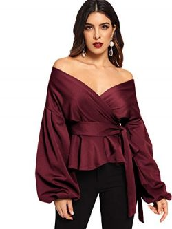 SheIn Women's Long Sleeve V Neck Ruffle Blouse Off Shoulder Tie Waist Wrap Tops X-Large Bu ...
