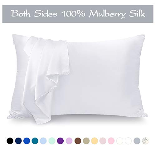 LULUSILK Mulberry Silk Pillowcase for Hair and Skin, 100 Pure Silk Pillow Case Cover 16 Momme wi ...