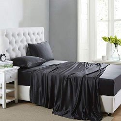 Lanest Housing Silk Satin Sheets, 4-Piece Queen Size Satin Bed Sheet Set with Deep Pockets, Cool ...