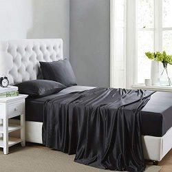 Lanest Housing Silk Satin Sheets, 4-Piece Queen Size Satin Bed Sheet Set with Deep Pockets, Cool ...