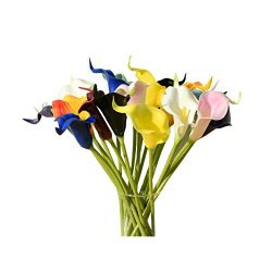 Mandy's 20pcs Multicolor Artificial Calla Lily Flowers 13.4″ for Home Kitchen &  ...