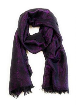Amicale Designer Silk Blend Black and Purple Floral Lurex Jacquard Scarf with Fringe, 80 x 26 inches
