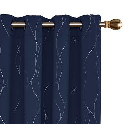 Deconovo Blackout Curtains Grommet Top Drapes Wave Line and Dots Printed Bedroom Blackout Curtai ...