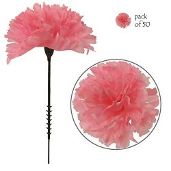 Larksilk Pink Silk Carnation Picks, Artificial Flowers for Weddings, Decorations, DIY Decor, 50  ...
