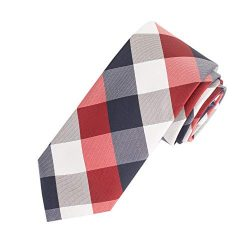 Amazon Essentials Men's Classic Plaid Necktie, Red, One Size