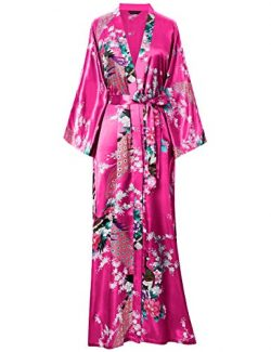 BABEYOND Women's Kimono Robe Long Robes with Peacock and Blossoms Printed Kimono Outfit (R ...
