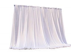 Ice Silk Backdrop Curtain for Wedding Ceremony Photography Banquet Event Party 10ft White HAORUI