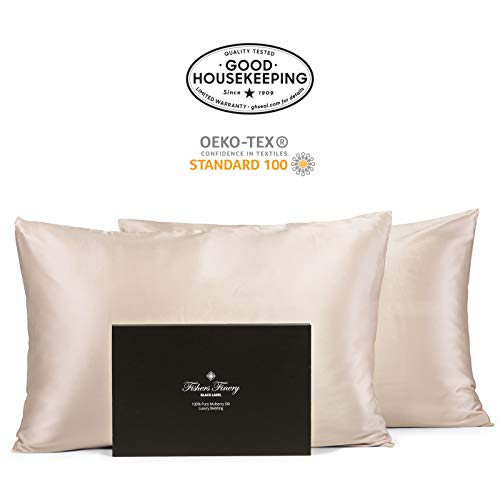 Fishers Finery 30mm 100% Pure Mulberry Silk Pillowcase Set Good Housekeeping Quality Tested (Tau ...