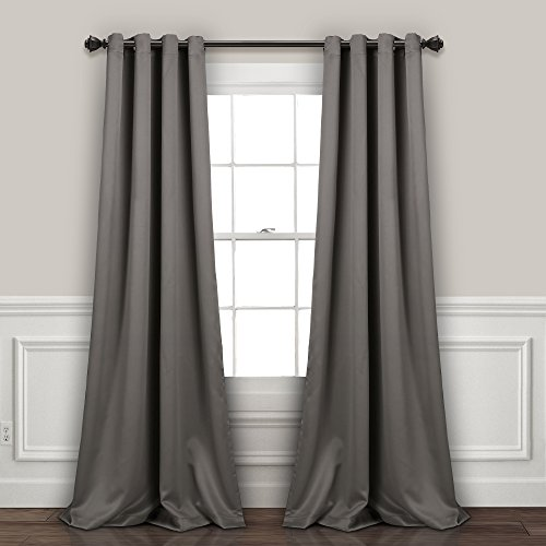 Lush Decor Curtains-Grommet Panel with Insulated Blackout Lining, 95″ L Pair, Dark Gray