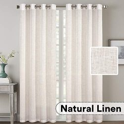 H.VERSAILTEX 2 Pack Ultra Luxurious High Woven Linen Elegant Curtains Grommet Curtain Panels Lig ...