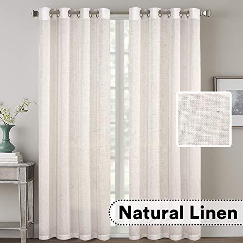 H.VERSAILTEX 2 Pack Ultra Luxurious High Woven Linen Elegant Curtains Grommet Curtain Panels Lig ...
