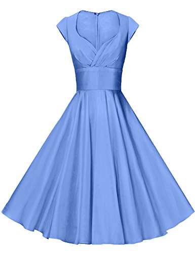 GownTown Womens Dresses Party Dresses 1950s Vintage Dresses Swing Stretchy Dresses, Light Blue,  ...