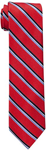 Tommy Hilfiger Men's Big & Tall Stripe Tie, Red, X-Large