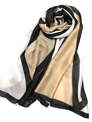 Shanlin Silk Feel Long Satin Pattern Scarves for Women (Black-White-Golden)