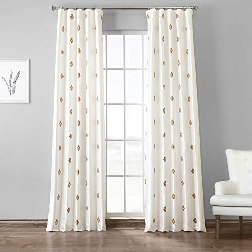 HPD Half Price Drapes EFSCH-18052C-120 Designer Embroidered Curtain (1 Panel), 50 X 120, Trophy  ...
