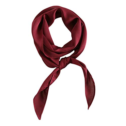 GERINLY Solid Neckerchief Vintage Wine Skinny Scarf for Prom 20s Satin Ribbon Scarf Handbag Hand ...