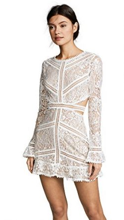 For Love & Lemons Women's Emerie Cutout Dress, White, Medium