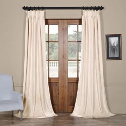 HPD Half Price Drapes VPCH-120601-120-FP Signature Pleated Blackout Velvet Curtain (1 Panel), 25 ...