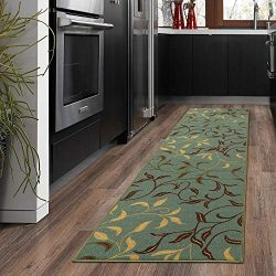 Silk Road Concepts Collection Contemporary Rugs, 20″ x 59″, Seafoam Leaf
