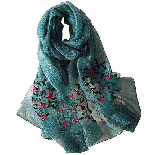 Alysee Women Soft Warm Silk&Wool Mixed Embroidered Scarf Shawl Headwrap Cyan