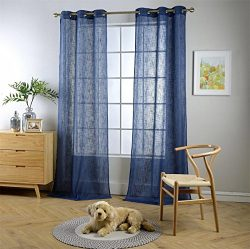 MIUCO Semi Sheer Curtains Poly Linen Textured Solid Grommet Curtains 95 Inches Long for Living R ...
