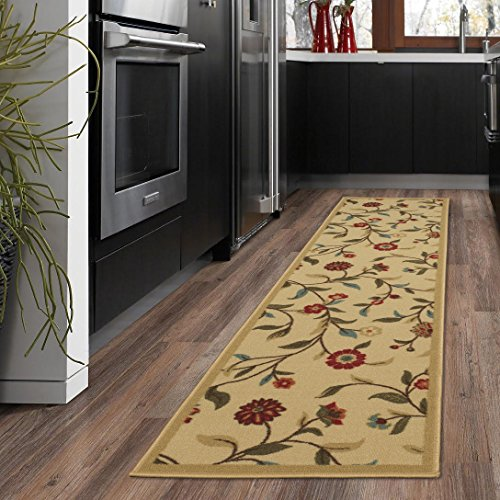 Silk Road Concepts Collection Floral Rugs, 20″ x 59″, Beige
