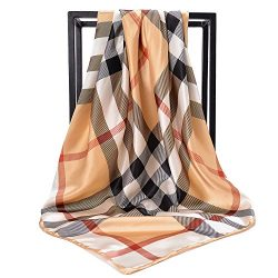 NUWEERIR Womens Large Satin Square Scarf Silk Feeling Hair Wrapping Gift Designer Scarf 35× ...