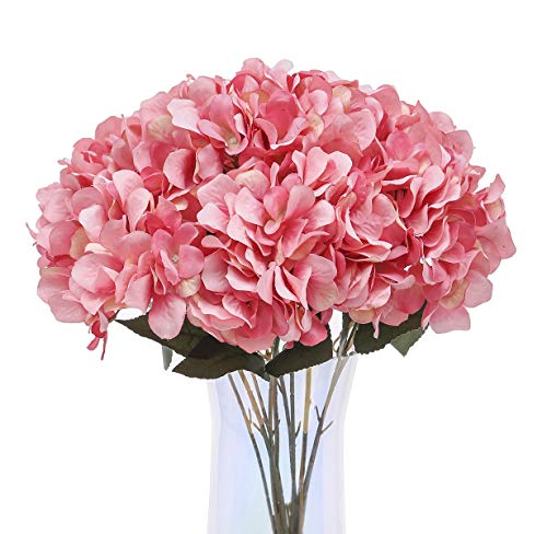Jyi Hope Artificial Hydrangea Silk Flowers 5 Heads Hydrangea Flowers Artificial with Stems for H ...