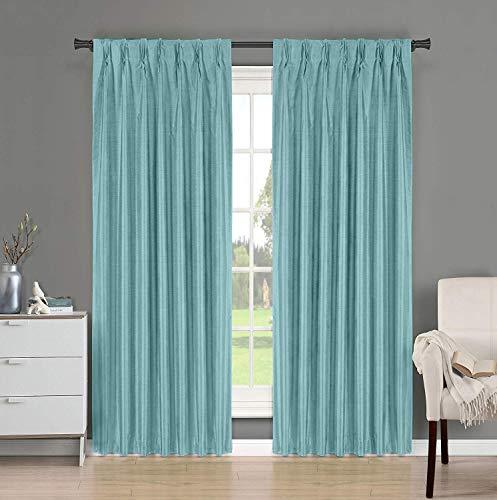 Magic Drapes Home décor 100% Faux Silk Double Pinch Pleat Blackout Window Curtain Panel & Dr ...
