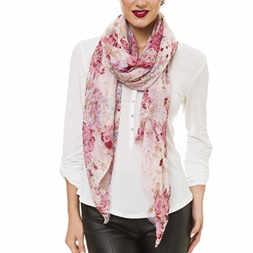 Scarf for Women Lightweight Floral Flower Scarves for Fall Winter Shawl Wrap (P077-pink)
