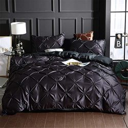 Erosebridal Pinch Pleated Duvet Cover Set Black Full Size Silk Like Satin Pintuck Bedding Set wi ...