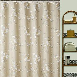 DS CURTAIN Silk Flowers Fabric Shower Curtains for Bathroom,Plum Blossom Bathroom Curtains,Print ...