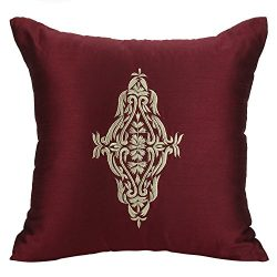 The White Petals Maroon Damask Accent Pillow Cover for Couch – Maroon Gold Throw Pillow Co ...