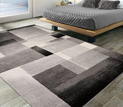 Silk Road Concepts Collection Contemporary Rugs, 5'3″ x 7'3″, Black