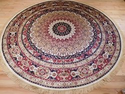 Luxury High End Shiny Silk Area Rugs Persian Silk Tabriz Design Round Rugs 8ft Circle Ivory Rug  ...