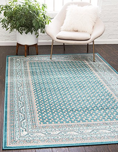 Unique Loom Williamsburg Collection Traditional Border Teal Area Rug (5′ 0 x 8′ 0)