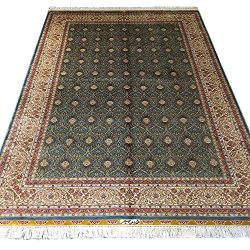 YUCHEN CARPET Silk Persian Rug 5×7.5 Silk Green Handmade Traditional Oriental Area Carpet f ...