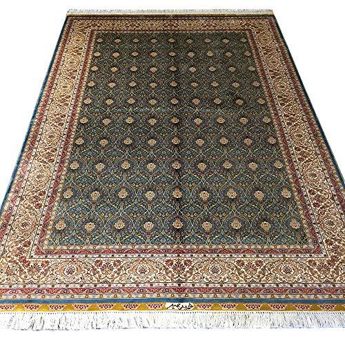 YUCHEN CARPET Silk Persian Rug 5×7.5 Silk Green Handmade Traditional Oriental Area Carpet f ...