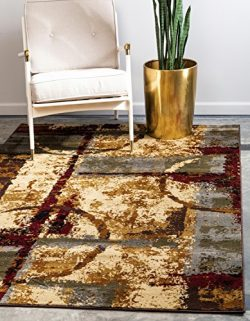 Unique Loom Barista Collection Abstract Vintage Modern Rustic Warm Multi Area Rug (5′ 0 x  ...
