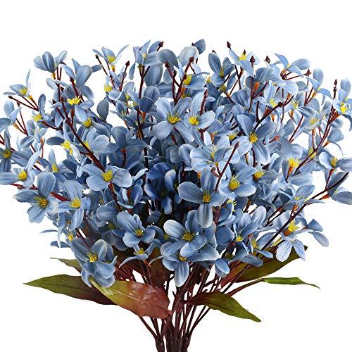 MHMJON 4 Pcs Artifical Flowers Silk Faux Orchid Phalaenopsis Plants Flower Arrangement Indoor Ou ...