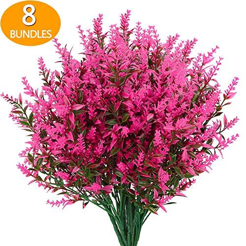 GREENRAIN 8 Bundles Artificial Lavender Flowers Outdoor Fake Flowers for Decoration UV Resistant ...